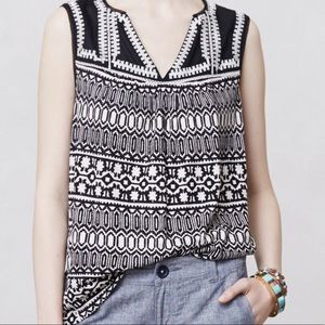 Anthropologie Meadow Rue Geo Stitched Tank Top